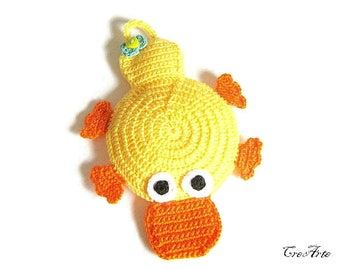 Yellow crochet duck potholder, presina gialla a forma di papero all'uncinetto
