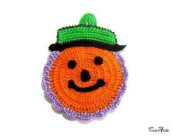 Orange Purple and Green Halloween crochet pumpkin potholder, presina zucca arancione lilla e verde per Halloween all'uncinetto