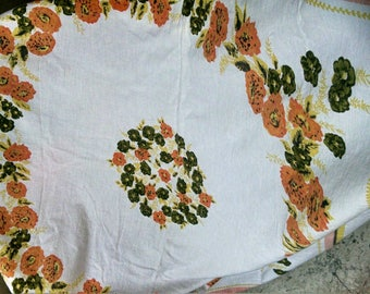 Pretty Floral Vintage Tablecloth