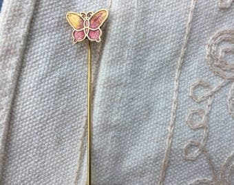 Stick Pin, Vintage Hat Pin, Gold butterfly stick Pin, butterfly hat pin, vintage stick pin, brass leaf tick pin, vintage hat pin, hat pin