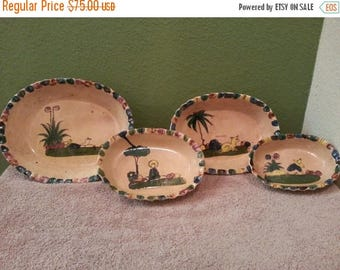 Close Out Vintage Tlaquepaque Mexican Pottery - Set of 4 - Nesting Bowls - Collectible - Home Decor