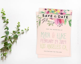 Save The Date, Floral Header, Wedding Invitation, Colorful Invitation, Typography, Watercolor Illustration Painting, Handletter, Digital