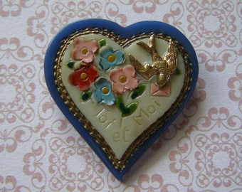 Brooch pin/antique brooch/antiquityfrench/love you and me / Bakelite flower brooch / pin swallow/brooch pin/heart lovers