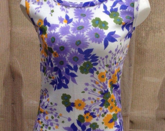 Vintage 70s Mod Hippie Chic Blue Orange Purple White Floral Montgomery Wards Womens Summer Sleeveless Tank Top