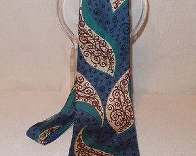 Vintage Mens Swing Paisley Blue Green Brown 100% Silk From Italy Made In USA Necktie Neck Tie