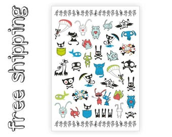 Temporary tattoos set «Cartoons» with funny kawaii animals bear, cat, bunny, skulls kids body stickers. Party bag supply. TA057