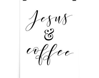 Jesus and Coffee Poster