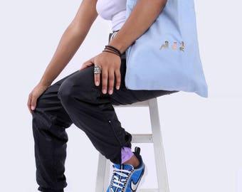 Blue pin-up girl tote bag