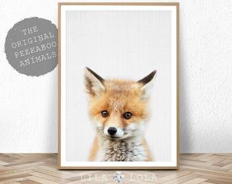 Baby Fox Print, Woodlands Nursery Decor, Baby Animal Poster, Digital Download, Large Printable Photo Poster, Minimalist, Babies Room Fox Art