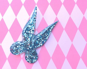 Light Blue Pixie Wings Brooch, Tinkerbell Wings, Neverland, Glitter, Dapper Day, Peter Pan,  Disney Bounding, Comic Con, Gift for Her