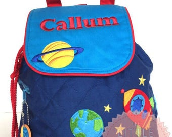 Personalised backpack/rucksack in space design for baby and child from Stephen Joseph. Back to school, nursery bag for toddler/child/boy uk