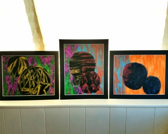 """UNTITLED- Original Set Of Three Abstract Drawings On Paper 13x16"""" By April Martinez"""