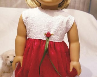 American Handcrafted 18 inch girl Doll Clothes by Dixie ! Holiday Red Velvet Dress
