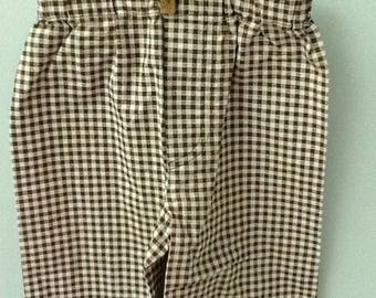 12-18 Month Brown and White Check Pants