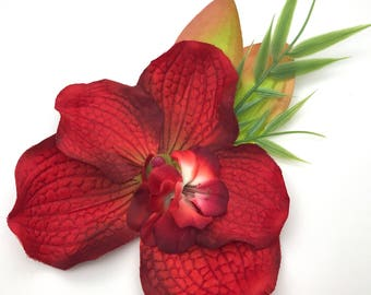 Handmade Tropical Red Orchid Hair flower Clip
