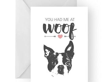Boston terrier anniversary card- birthday card, love card, dog birthday card, Boston terrier anniversary, Boston terrier birthday card