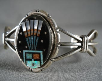 Mightnight Space Kachina Navajo Turquoise Coral Silver Bracelet