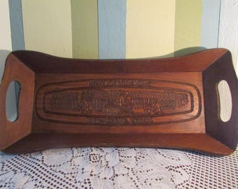 VINTAGE Wooden ServinG Tray, VTG Wooden Bread Tray, Give us This Day Our Daily Bread, Rustic Kitchen Decor, Plateau En Bois Pour Le Pain