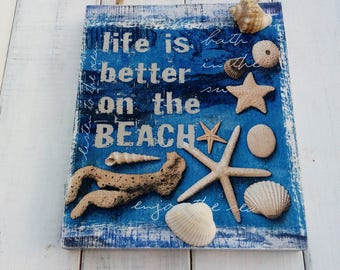 Sea wall décor for barhroom Beach décor Seashells wall art Wooden Wall panel Marine Décor for café on the beach Seashells decorathions