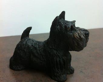 Vintage Dog Figurine - Black Scottish Terrier - Made of Composite - Scottie Pup