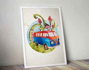 Vw T1 hippie bus with magic mushrooms watercolor illustration art print childrens room, nursery wall decor home hanging art decor