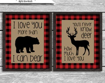 Instant Download Buffalo Plaid I Love You More Than I Can