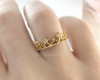 Crown Ring - Princess Ring - Bridesmaid Gift - Engagement Ring - Lace Ring - Crown Jewelry - Silver - Gold - Pink Gold - Gift Ideas - Sister