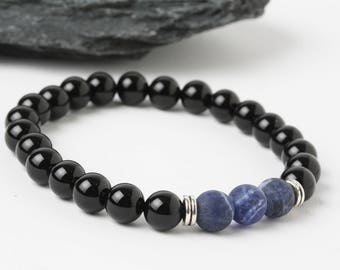 Sodalite bracelet, Onyx bracelet, Mala Bead Bracelet, Energy bracelet, Stones bracelet, Black bracelet, Healing Bracelet, Men Sodalite Beads