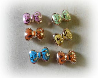 6 beads 23 * 15 mm mixed color acrylic bow