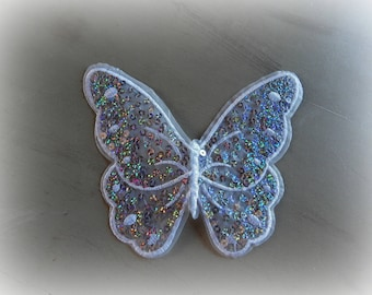 1 patch fusible patch / applique White Butterfly sequined 16 * 14 cm