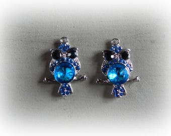 2 charms / pendants silver 25 * 35 mm blue rhinestone OWL