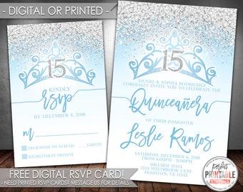 Blue Quinceañera Invitation, Quinceañera Birthday Invitation, Mis Quince Anos Invitation, Quinceañera Invite, Digital File Printed #712