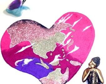 ON SALEcij 20% off Felted Wool World Heart, Wall Hanging, Needle Felted Art.