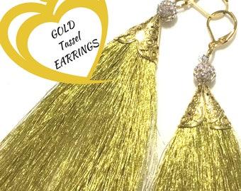 Tassel Earrings Gold Shimmering , On Trend Earring, Cubic Zirconia Beaded Tassels, on Trend Gift, Earrings Gold, Shimmering Stylish Gift