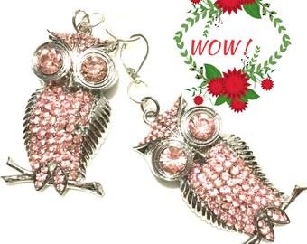 Pink Rhinestone Owl Earrings, Silver Rhinestone Earrings, On Trend Earrings, On Trend Gift, Pretty Rhinestone Earrings,Gift, Anytime Gift