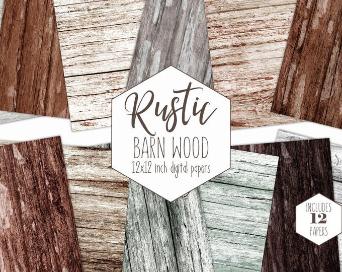 BROWN WOOD Digital Paper Pack Rustic Digital Background Ash Brown Gray Barn Wood Papers Distressed Painted Wood Grain Texture Commercial Use