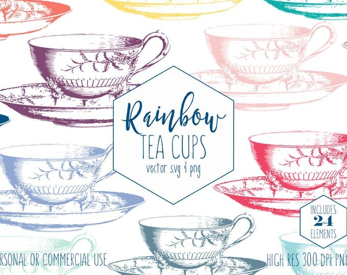 TEA CUP Clipart for Commercial Use Planner Clip Art Rainbow Colors Tea Party Images Vintage Teacup & Saucer Vector Digital Graphics for Kids