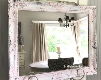 extra large shabby chic mirror bathroom vanity mirror baroque mirror wall mirror chippy wood ornate mirror