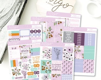 Vertical Kit - Wildflower 6 Sheet Planner Stickers Kit - Fall floral August, September, October - Glossy, Matte Stickers WIKV