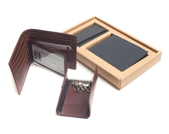 Montini Leather Gift Set Wallet Keychain
