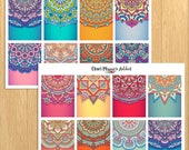 Mandala Backgrounds Planner Stickers | Colourful Mandalas | Mandala Stickers | Background Stickers (S-299)