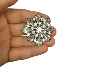 Vintage rhinestone cluster brooch round flower shaped pin gift for her