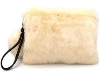 Soft Furry White Faux Fur Pom Pom Wristlet Clutch Bag