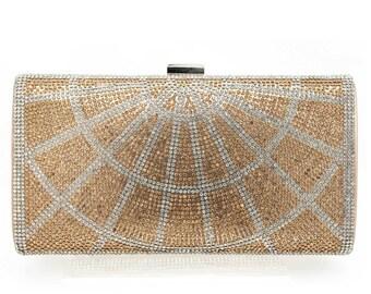 Champagne Ray Rhinestone Beaded Evening Clutch Handbag