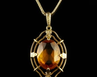 Vintage Citrine Pendant and Chain 14ct Gold 1950