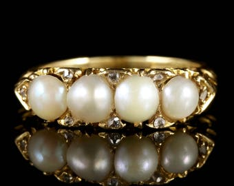 Antique Victorian 18ct Gold Pearl Diamond Ring Circa 1880