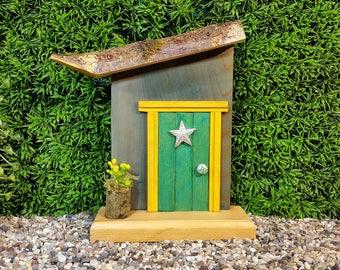 Kelly Green Fairy Door with Rhinestone Star Window