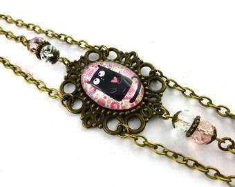 Bronze chain headband, black cat Angel, Liberty, pearls, vintage style pink flowers