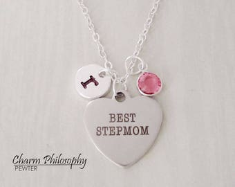 Best Stepmom Necklace - Stepmom Gift Ideas - Monogram Personalized Initial and Birthstone