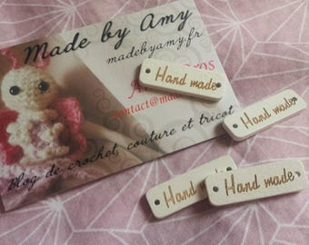Hand Made plate, tag made from wood to sew or stick